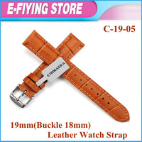 C-19-05 Real Cow Leather Watch Band 19mm Light Brown Crocodile Embossed Watch Strap Bracelet With Pin Buckle Free Shipping