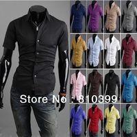16 Colors M~XXL Plus Size Hot Selling Short Sleeve Solid Color Slim Dress Shirts For Men Shirts Freeshipping#MTS046