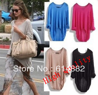 Fashion Batwing Sweater Womens Ladies Casual Loose Asymmetric Knit Wear Top Sweater Drop Shopping CL203