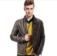 Free shipping!2013 New Men's suit PU leather jacket man autumn winter products Mens Fashion slim leather coats