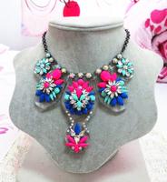 Free shipping 2013 high quality new design fashion shourouk style multi color rhinestone choker necklace length 45cm