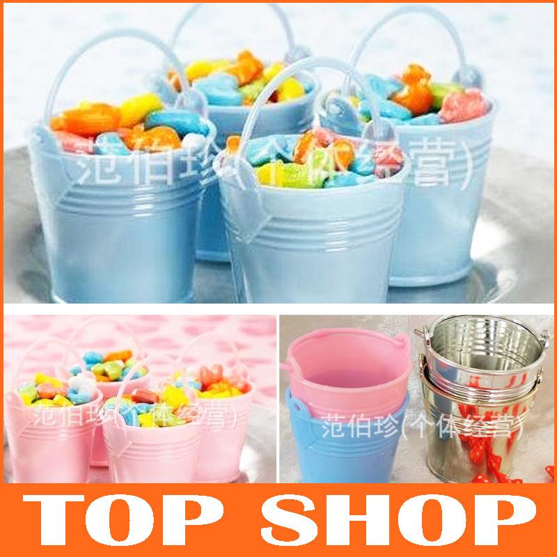 Candy Box Chocolate Sweet Wedding Bucket 2Color Magic Crystal Barrel Small Plastic Bucket Full Moon plastic kegs HQ0043(China (Mainland))