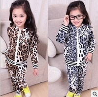2013 new suit for children Suede leopard print hooded casual suits, boy girl sportswear free shipping 4 sets/lot