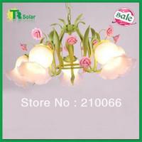 Rose Flower Garden Chandeliers Freeshiping E27*5 light source  Modern Wrought Iron Lighting pendant Lamp living room bedroom