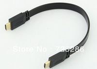 High quality 1.4 Version High Speed HDMI to HDMI Flat Cable 0.3M 30cm 1.4A 1080P HD w/ Ethernet 3D HDTV 100PCS + free shipping