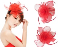 New 2013 Fashion Fascinator Flower Ostrich Feather Cocktail Hat Hair Accessories For Women Couture Headpieces Headdress WIGO0171