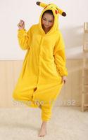 Retail/Wholesale Japan Anime Pokemon Pikachu Cosplay Costume Animal Pajamas Adult Onesies Cartoon Animal Sleepwear,Free Shipping