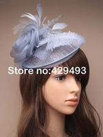 2013 new arrive HOT sinamay fascinator in SPECIAL shape with feathers, TOP grade workmanship, Grey colors
