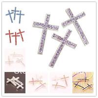 38*24mm 20pcs/lot Silver Plated Crystal Sideways Crosses mix Shamballa Beads Fit For shamballa Bracelets