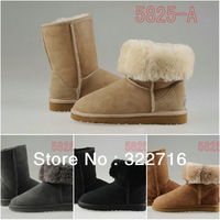 2013 NEW high quality LOGO+ 5815 5825 snow boots, fur really wool Bailey Button Snow Boots Women's Real Leather Winter Classic