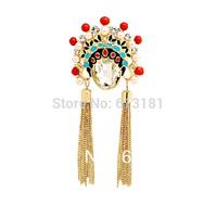 Super Beauty China style Peking Opera art Artwork Drama mask Brooch,Wedding Bride Brooch Pins Free Shipping