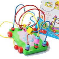 Flexible fingers hand eye coordination Toddler Toys  affordable green beads around pull pull drag car Free shipping