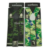 "Men's Unisex Clip-on Braces Elastic 3.5cm Wide ""Army  Camouflage"" pattern Suspenders/Gallus/Belt For Women`s Wholesale & Retail"