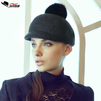 Free Shipping Keshava wool cap rabbit fur ball equestrian cap autumn and winter knight cap military hat