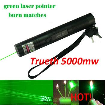 Free shipping 5000mw high powered burning laser 301 burning matches , green laser pointer pen set for 10000m ,  lazer presenter