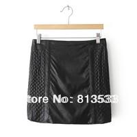 Autumn Fashion 2013 PU Slim Hip Short Skirt Check Zipper Leather Skirt Woman's Girls Skirt Free Shipping