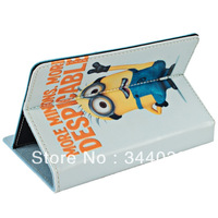 Dropshipping The Minion of Despicable Me 2 Pattern PU Leather Stand Case for 7 inch Tablet PC - Blue Free shipping