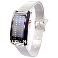 New Fashion Men Women's 29 Flash Blue LED Digital Sport Metal Band Watch  Free Shipping