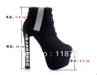 14/16cm heels genuine leather women's fashion boots martin boots booties platform shoes woman winter snow boots high heel boots
