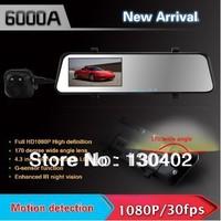 6000A Car Rearview Mirror Camera Recorder DVR Dual Lens 4.3' TFT LCD HD 1920x1080p Rear view camera 720P with GPS G-sensor