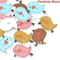 Free Shipping 100pcs Mixed Lovely Birds Animal Printed 2 Holes Wood Sewing Buttons Scrapbooking 23x26cm