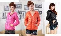 2013 new Autumn and winter women outerwear advanced lightweight with a hood short design down coat