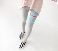 Spring and Autumn Fashion Women Lady Combed Cotton Stitching Zipper Slim Leggings Ninth Pants