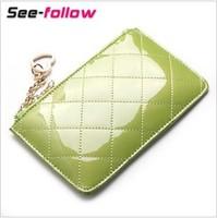 Thin women's coin purse genuine leather cowhide zipper short design summer day clutch bag female mobile phone