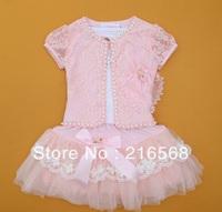 2013 Newest 4-8 years Baby Girl 3 Piece Suits retail T-shirt+Coat+Skirt Kids Princess Tutu Dress Children Lapel Sets