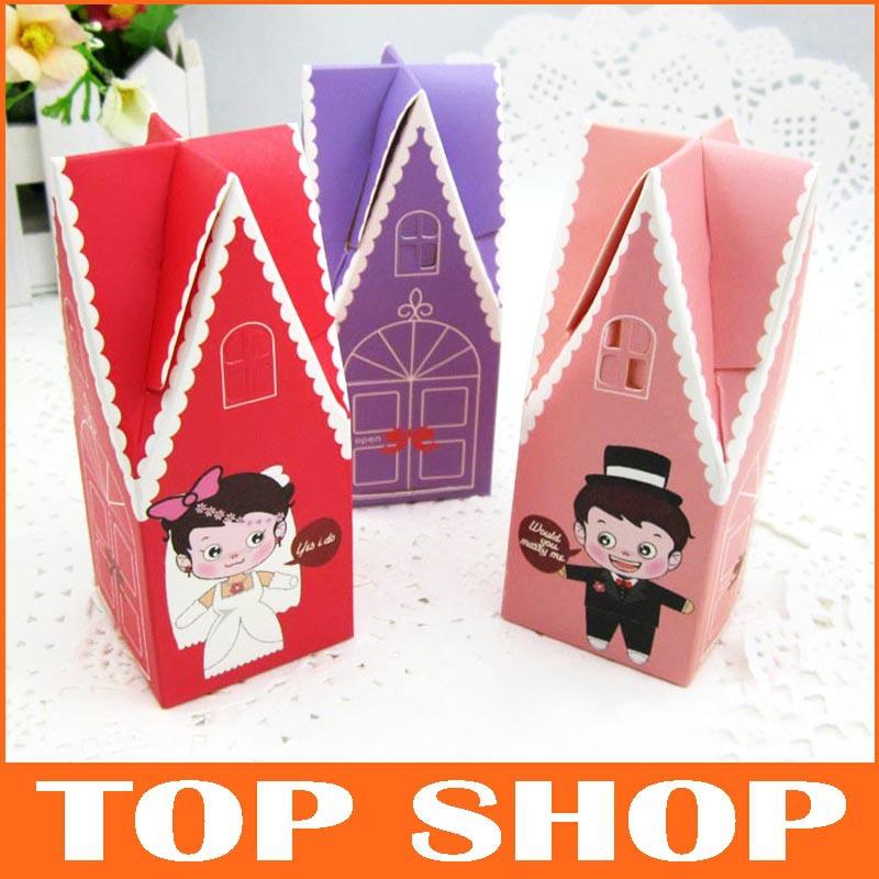 Caixa dos doces de Chocolate doce favores originais do casamento papelão 3 Color igreja forma personalidade criativa Small House(China (Mainland))