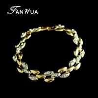 Bijuterias18K Gold Plated Alloy Fashion White Hippie Imitation Diamond Leaf Chain Bracelets and Bangles for Women