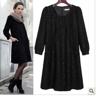 2013 Autumn New Plus Size Women Temperament Dress Wholesale Agent Paragraph Female Thick Knit Dress Lady S-XXL