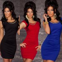 Hot Sale Sexy Tight  Slim Clubwear Club Dress Nightwear Black and Red Shirt