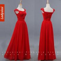 2014 New Arrival Formal Evening Dress Chiffon Long Design Cap Sleeve Celebrity Red Carpet Dress women Party Dresses plus size