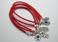 50Pcs Mixed Kabbalah Hamsa Hand Charms Red Leatheroid Braided String Bracelets K01138