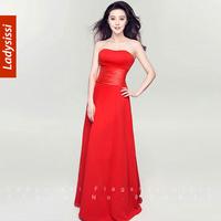 2014 Tube Top Design Chiffon Formal Dress Bride Evening Dress Costume Banquet a Long Red Dress dress party evening elegant