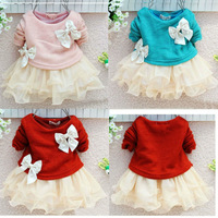 Free shipping 1 PCS Retail beautiful patchwork pearls bow newborn baby girls princess knitted chiffon dress for autumn spring