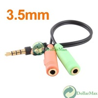New arrive: Audio Stereo Plug Spliter 3.5mm 1 Male to 2 Female Adapter Cable Earphone #4 wholesale
