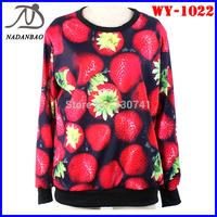 Fashion Autumn Women Hoody Red Strawberry 3D Digital Printed Sweatshirts Long Sleeve Loose Sport Women Suit WY-1022