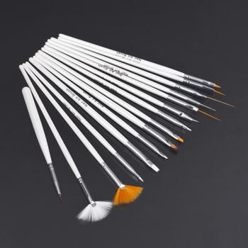 15Pcs Low price Cosmetic Nail Art Polish Painting Draw Pen Brush Tips Tools Set UV Gel Worldwide FreeShipping
