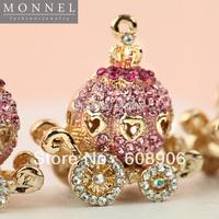 H218a Cute Pink Crystal 3D Pumpkin Carriage Pendant Charm Wholesale (3pcs)