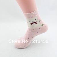 New arrival !!! ladies wool socks mix color 5pcs/lot women rabbit wool thicken lovely bear pattern sock free shipping