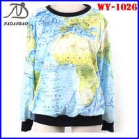 Autumn Fashion Women Hoody Blue World Map 3D Printed Sweatshirts Long Sleeve Loose Sport Suit Women WY-1026