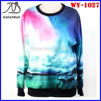 Women Sweatshirts Long Sleeve Galaxy Blue Red Universe Space Digital Printed Crew Neck Black Milk Sky Loose
