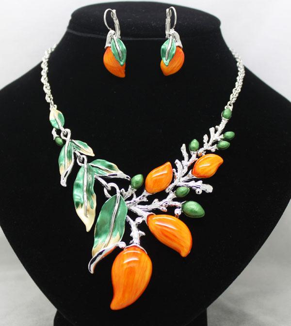 nueva llegada de moda de la boda partido colorido mango frutas juegos de joyería vintage de vestuario las mujeres conjunto collar y pendientes de envío gratis
