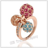 MIN order US15,Copper with 18K gold plated crystal ring, Austrian crystal,Fashion jewelry,rings for women,nickel free,18KGP-R014