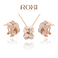 ROXI Exquisite  rose-golen flower jewelrys for elegant women party  with zircons, new style,best Christmas gifts,2070022780