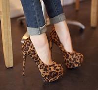 Free Shipping, Ultra high heels 14 sexy leopard print women's shoes thin heels platform shoes 2013