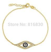 2014 New Gold Link Chain Bracelet Turkey Blue Evil Eye Charm Faith Bracelet Girls Fashion Jewelry Christmas gift