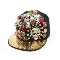 Punk skeleton baseball cap Hip-Hop cap rivet cap Newest skull hat Novelty cap hot sale party cap